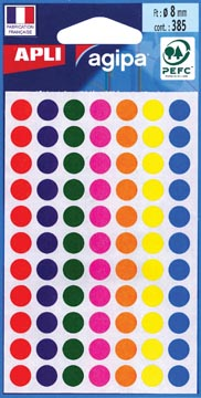 Agipa ronde etiketten in etui diameter 8 mm, geassorteerde kleuren, 385 stuks, 77 per blad