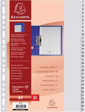 Exacompta tabbladen numeriek voor ft A4, uit PP, 31 tabs, grijs