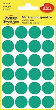Avery Ronde etiketten diameter 18 mm, groen, 96 stuks