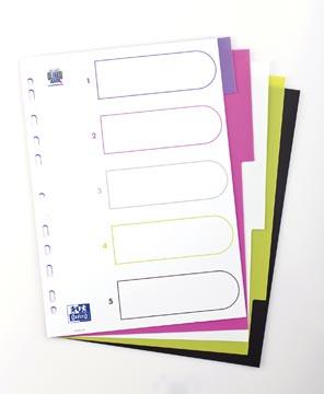 OXFORD MyColour tabbladen, formaat A4, uit gekleurde PP, 11-gaatsperforatie, 5 tabs