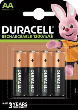 Duracell oplaadbare batterijen Recharge Plus AA, blister van 4 stuks