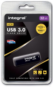 Integral USB stick 3.0, 32 GB, zwart