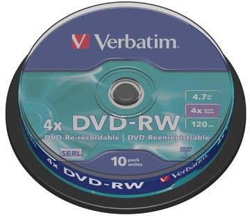 Verbatim DVD rewritable DVD-RW, spindel van 10 stuks