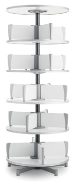Moll klasseerzuil Multifile, 5 verdiepingen, hoogte 195 cm, voor maximum 120 ordners, wit