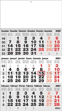 3-maand kalender Benelux 2021