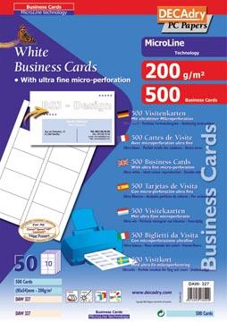 Decadry visitekaarten MicroLine ft 85 x 54 mm, 200 g/m², 500 kaartjes