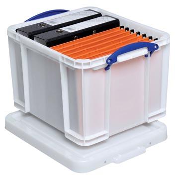 Really Useful Box opbergdoos 35 liter, wit met blauwe handvaten
