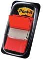 Post-it Index standaard, ft 25,4 x 43,2 mm, rood, houder met 50 tabs